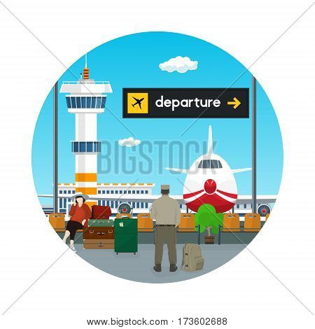 Icon Airpor,t View on Airplane and Control Tower through the Window from a Waiting Room with People, Scoreboard Departure at Airport ,Travel Concept, Flat Design, Vector Illustration