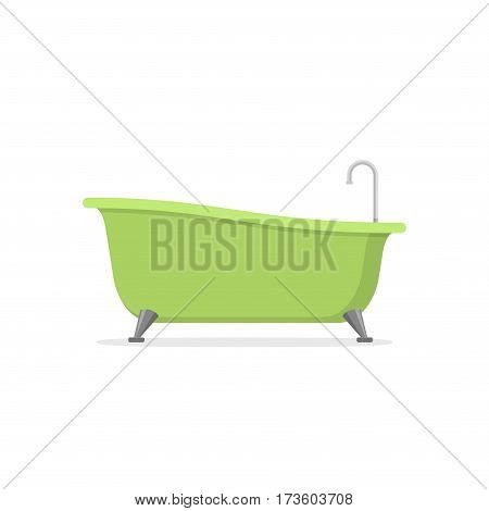 Classic green bathtub isolated on white background. Bath time in flat style vector illustration