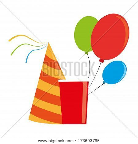 color silhouette with party hat and balloons and disposable cup vector illustration