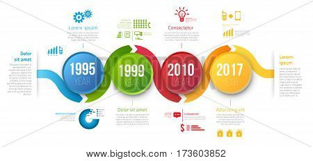 Process chart with 4 steps timeline for business data visualization. Bright colors circle and infographics with icons. Vector template for presentation, prints and web