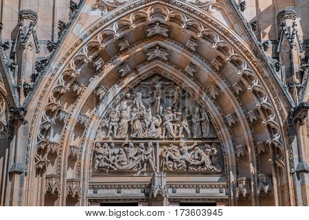 Architectural detail on St Vitus Cathedral in Prague Castle.