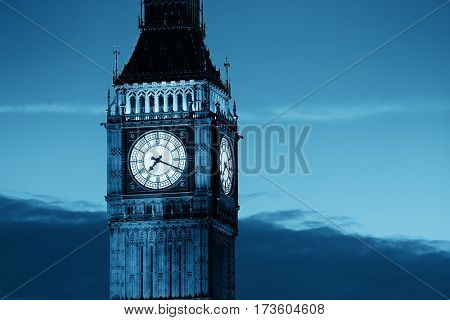 Big Ben closeup in London in black and white
