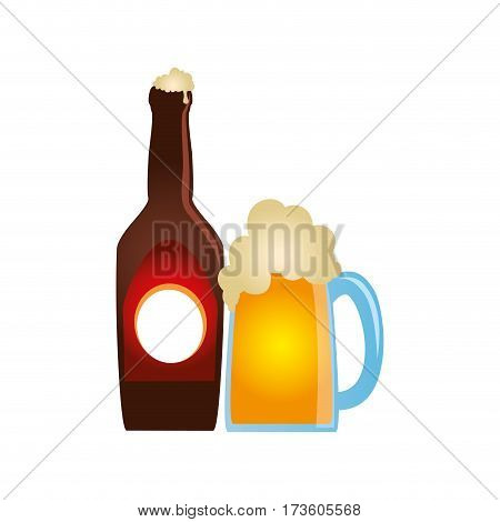 color silhouette with bottle and foamy beer glass vector illustration