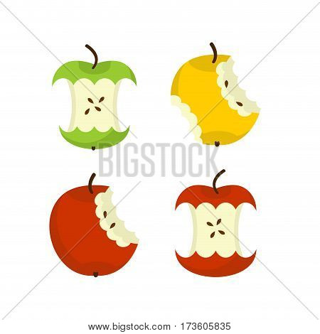 Apple Core Set. Fruit Trash. Rubbish On White Background. Garbage