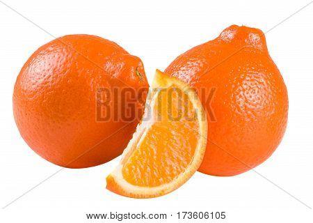 two orange tangerine or Mineola with a slice isolated on white background.