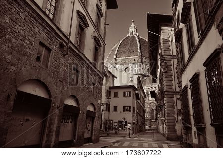 Duomo Santa Maria Del Fiore street view in Florence Italy.