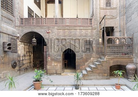 Cairo, Egypt - February 18, 2017: Courtyard of Gayer Anderson House, a 17th century house situated adjacent to the Mosque of Ahmad ibn Tulun in the Sayyida Zeinab neighborhood