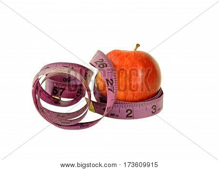 Diet time- apple with measuring tape on a white background