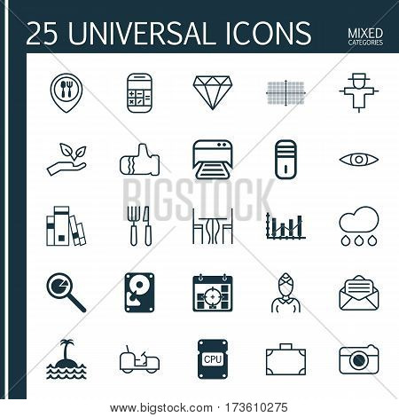 Set Of 25 Universal Editable Icons. Can Be Used For Web, Mobile And App Design. Includes Elements Such As Food Mapping, Street, Portfolio And More.