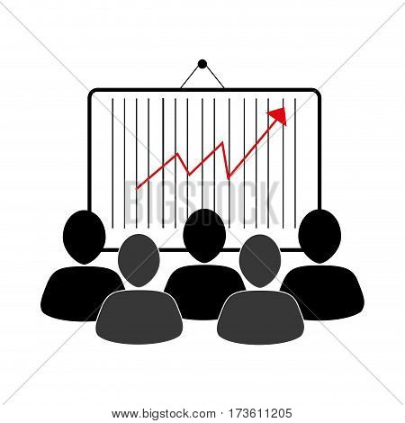 group of people and economic growth indicator table vector illustration