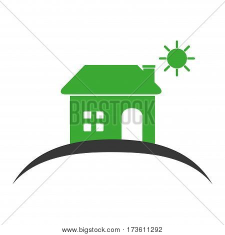 colors silhouette of house with the sun on the heaven vector illustration