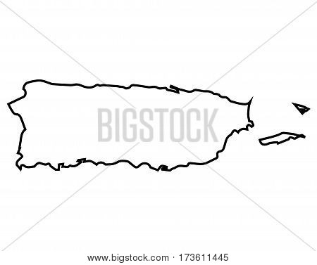 Isolated map of Puerto Rico on a white background, Vector illustration