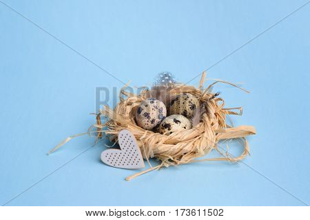 Quail Eggs In A Straw Nest On The Blue Background