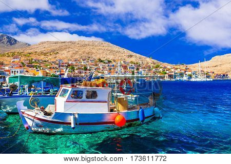 Colorful traditional Greece - beautiful island Chalki in Dodecanesse