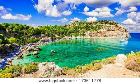 Beautiful emerald beaches of Rhodes island. Greece
