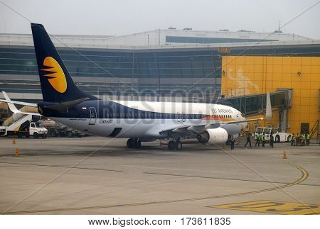 DELHI, INDIA - FEBRUARY 07: Boeing 737-800 operated by Jet Airways at Delhi international Airport on February 07, 2016. Indira Gandhi International Airport is the 32th busiest in the world.