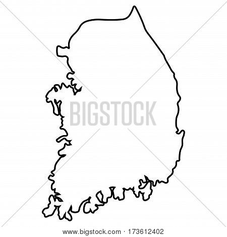 Isolated South Korean map on a white background, Vector illustration