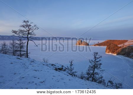 Olkhon Island. Shamanka Rock.sunset Landscape. Lake Baikal