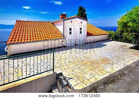 The Adriatic Sea scenic view. Dubrovnik town Villa on coast and blue sky. Croatia.