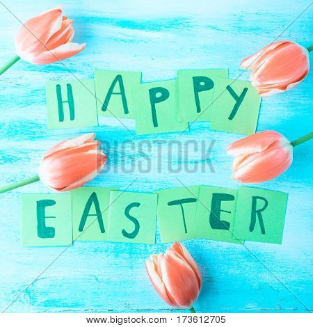 Happy Easter background tulips flowers hand written letters. Green pastel backdrop spring greeting card square