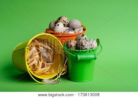 Small Decorative Buckets Filled Quail Eggs On The Green Background