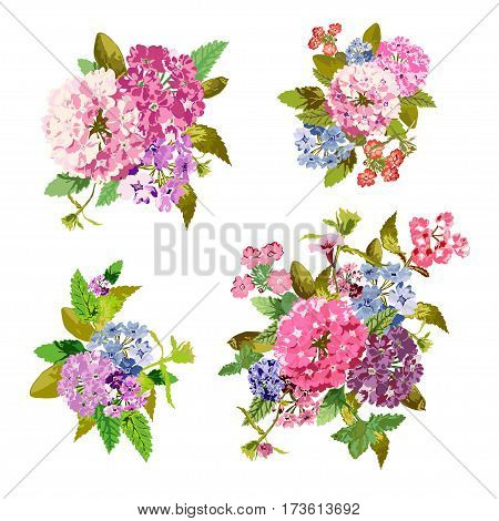 Elegant bouquets with flowers design elements. Floral compositions can be used for wedding baby shower mothers day valentines day cards invitations. Vintage decorative flowers. Editable