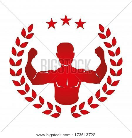 crown of leaves with red silhouette half body muscle man vector illustration