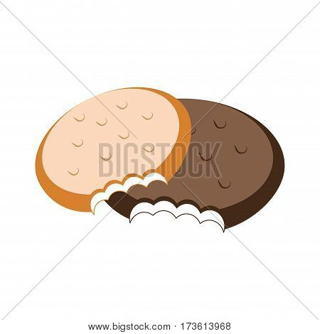 colorful set Bite cookies icon food vector illustration
