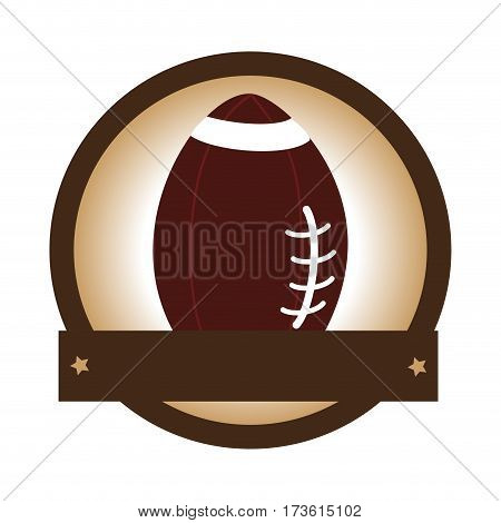 circular border with silhouette color with football ball and plaque vector illustration