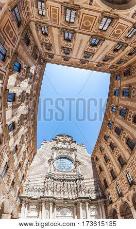 BARCELONA, SPAIN - JUNE 06, 2015:The courtyard of the Benedictine monastery of Santa Maria de Montserrat, near Barcelona, Spain