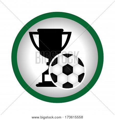 circular frame with Trophy with soccer ball vector illustration