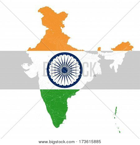 Map of India with rivers and lakes in colors of the national flag of India.. Map consists of separate maps of federal states and union territories that can be used separately.