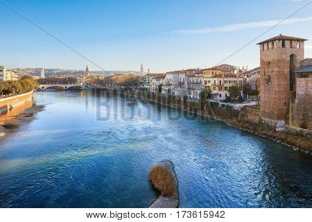 historical quarter of Verona, view from Castel Vecchio bridge, Italy