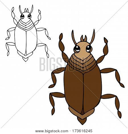 Cute bug isolated on the white background. For coloring book and other child design.