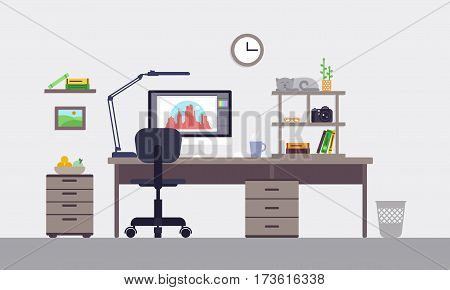 Colorful designer workspace concept with interior elements equipment and objects in flat style isolated vector illustration