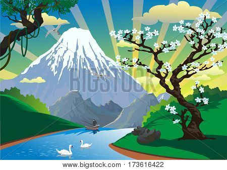 Landscape - morning fishing on the river. A fisherman in a boat. Morning over the mountains. Vector illustration