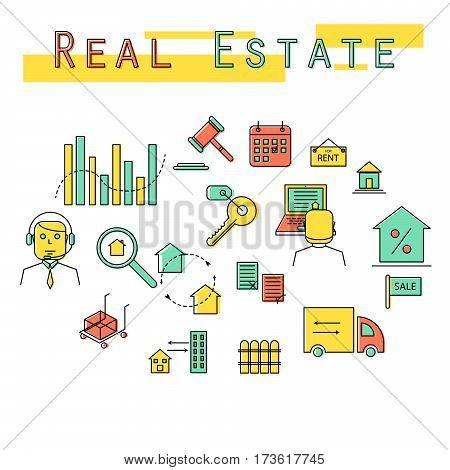 Real estate investment concept icon illustration. Vector colored line icon set.