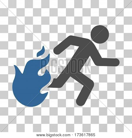 Fired Running Man vector icon. Illustration style is flat iconic bicolor cobalt and gray symbol on a transparent background.