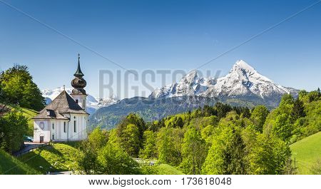 Beautiful Mountain Landscape In The Bavarian Alps With Pilgrimage Church Of Maria Gern And Watzmann