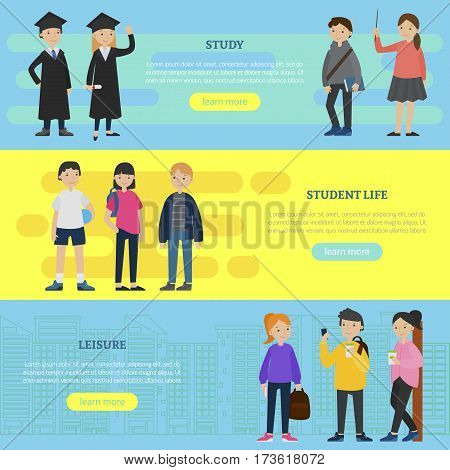 Colorful education horizontal banners with students and different spheres of university life vector illustration