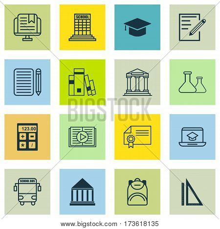 Set Of 16 Education Icons. Includes Distance Learning, College, E-Study And Other Symbols. Beautiful Design Elements.