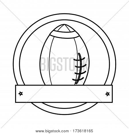 silhouette circular border with football ball and plaque vector illustration