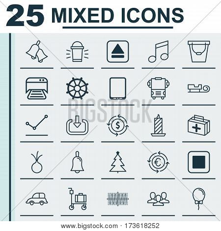 Set Of 25 Universal Editable Icons. Can Be Used For Web, Mobile And App Design. Includes Elements Such As Garlic, Finance, First Aid Bag And More.
