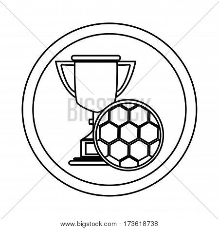 silhouette circular frame with Trophy with soccer ball vector illustration
