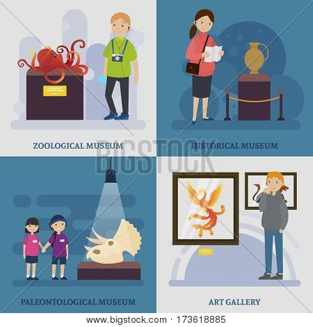 Cultural rest concept with people visiting zoological historical archaeological museums and art gallery vector illustration