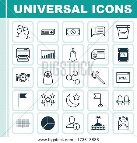 Set Of 25 Universal Editable Icons. Can Be Used For Web, Mobile And App Design. Includes Elements Such As Handbell, Profile Data, Pail.