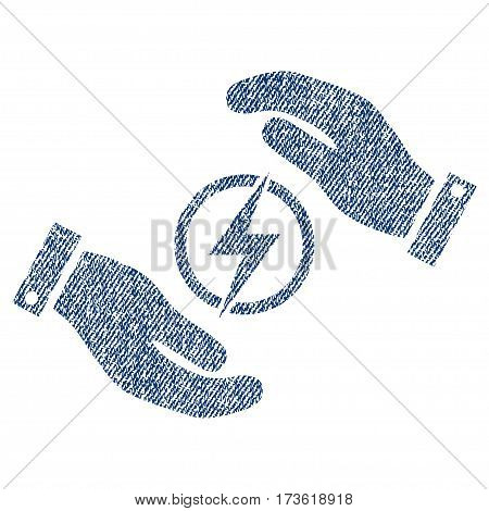 Electric Energy Insurance Hands vector textured icon for overlay watermark stamps. Blue jeans fabric vectorized texture. Symbol with dust design.