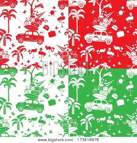 Set of seamless patterns with small retro travel car luggage palm trees flamingo red green and white color backgrounds. Element for summer greeting posters and t-shirts printing.