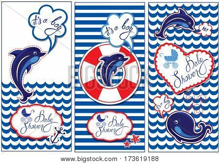 Baby boy Shower Nautical Set. Party Decoration Scrapbook invitation card. Funny flyers with dolphin whale and frame on stripe white and blue background.