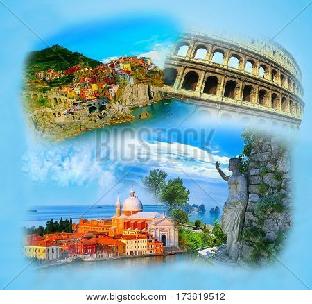 The collage from photos of Italy on blue background